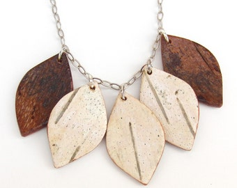 White birch bark necklace, Flourish