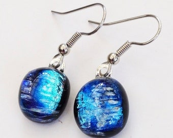 Dichroic earrings - blue turquoise and yellow on black // dichro earrings - cobalt aqua yellow black // fused glass earrings  // shimmery