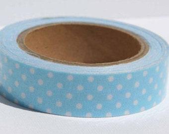 Washi Tape, Light Blue Polka Dot Fabric Tape