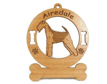 1091 Airedale Standing Personalized Ornament