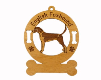 3140 English Foxhound Personalized Wood Ornament -Free Shipping