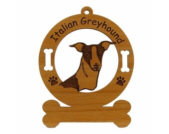 3407 Italian Greyhound Head Personalized Wood Ornament Free Shipping