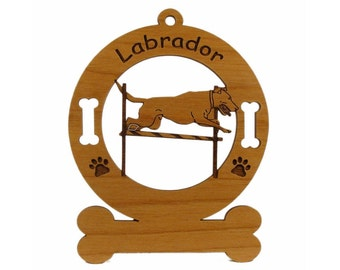 3488 Labrador Pole Jump Personalized Wood Ornament