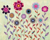Purple Flowers Collage Painting, Mixed Media Art Print on Wood