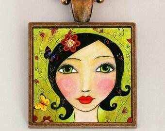 Portrait Necklace Pendant Handmade Pendant Necklace Girl Butterflies Flowers Art Pendant with Gift Box