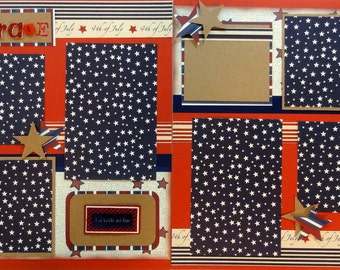 CELEBRATE 12 x 12 premade scrapbook pages - 4th of July