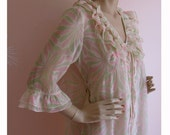 Vintage 1960s PENELOPE Pink and Green Ruffled French Sheer Nightgown and Peignoir