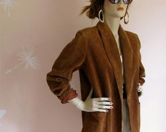The Best Vintage 1980s Brown Suede SASSON Slouchy Boyfriend Blazer