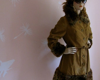 Vintage 1970s Ultra Suede and Fake Fur Beast Print Coat