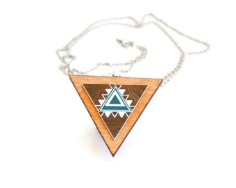 Aztec Triangle Necklace - Laser cut Brown and Teal Acrylic and Tasmanian Myrtle Wood Pendant and Chain