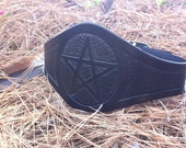 Made to order Reversible Pentacle Pentagram Wide Solid Black Tooled Leather Belt