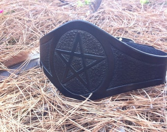 Reversible Pentacle Pentagram Wide Solid Black Tooled Leather Belt