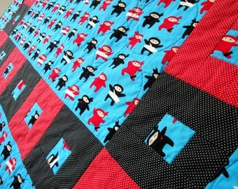 Ninja Quilt - Handmade Baby Quilts, Kids Childrens Red Black Blanket
