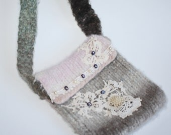 Pearls and Lace Felted Wool Handbag