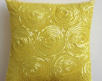 "Handmade Yellow Pillow Cases, 16""x16"" Silk Throw Pillows Cover, Square  Spiral Sequins Antique Pillows Cover - Yellow Touch"