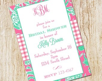 Monogrammed Bridal Shower Invitation - Lilly inspired -Digital File- Printable Invitation - Preppy Pink and Green