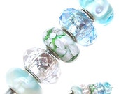 MERZIEs 5 silver lampwork glass & faceted acrylic European charm chain spacer beads - white clear baby blue green flower floral