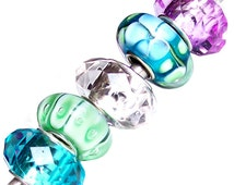 MERZIEs 5 silver lampwork glass & faceted acrylic European charm spacer beads - turquoise blue white green purple flower floral