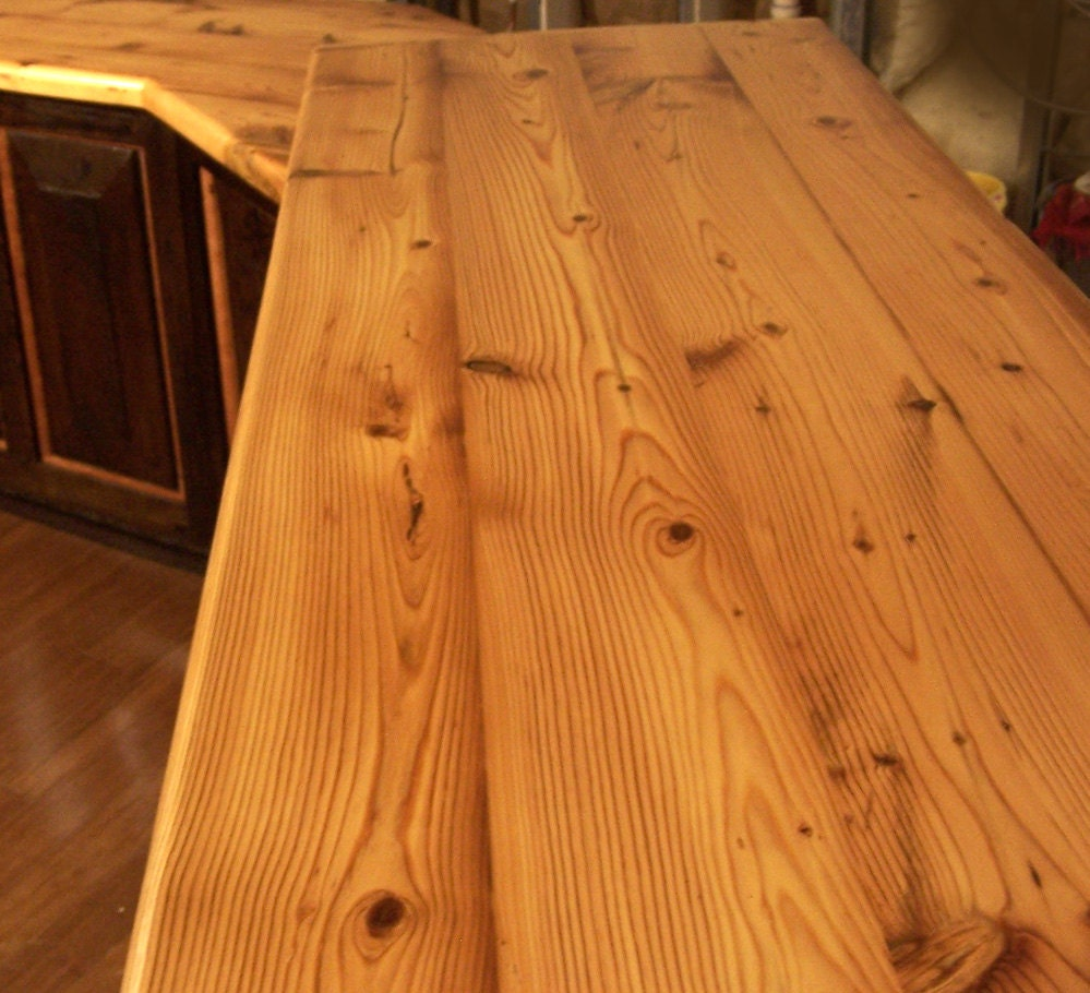 Diy Wooden Kitchen Countertops Custom Reclaimed Wood Plank Countertops For 45 Dollars A Sq Ft
