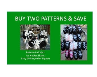 2 Instant Downloads - Buy Baby Ghillies - Hockey Skates - PDF Crochet Patterns and Save
