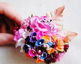 Bon Bon Pink Multi Jewel toned Mixed bunch Vintage style Millinery Flower spray Bouquet corsage holiday wrap, floral shabby chic