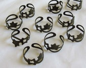 10 Pieces of Antiqued Brass Color  Adjustable Stars Rings