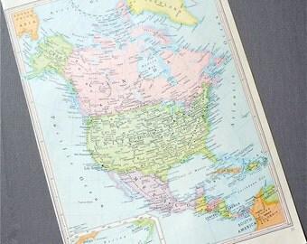 NORTH AMERICA 1960s retro map paper ephemera . wall decor . vintage book page