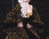 Gothic Fantasy Black and Gold Velvet Scroll Lace Back Antoinette Gown Small