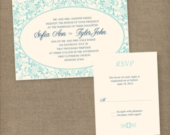 Vintage Wedding Invitations, Lace Wedding Invitations, Vintage Invitations, Vintage Wedding Invites, Damask Wedding Invitations, blue invite