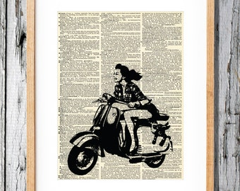 Vespa Scooter Woman- Art Print on Vintage Antique Dictionary Paper - Italian Scooter