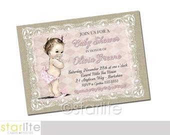 Girl Baby Shower Invitation, Vintage Baby Girl Pink Beige Burlap Lace Baby Shower Invitation, Printable Girl Baby Shower Invitation, Printed