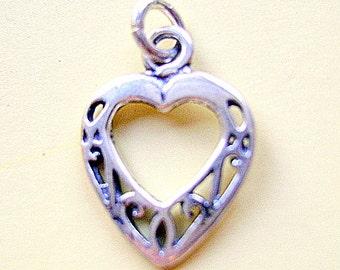 CHARM, HEART, Sterling, Silver, Open, Love, Filligre, Celtic,Sweetheart, Earring, Pendant, Toggle, Lanyard