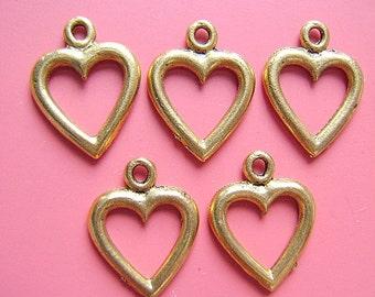 CHARM, HEART, Gold, Pewter, Open, Love, Filligre, Sweetheart, Earring, Pendant, Toggle, Destash, Lanyard