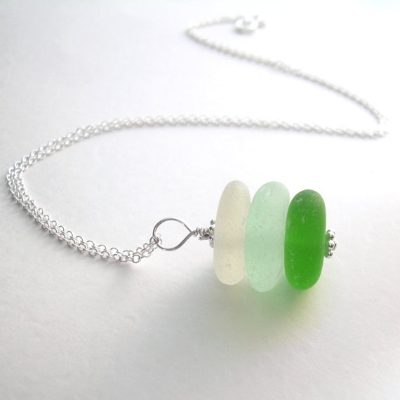 Genuine Sea Glass Necklace, Green Ombre Jewelry, Bridesmaid Pendants, Beach Wedding