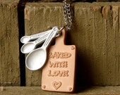 Miniature Cutting Board Necklace - Bakers Necklace - Baked with Love Miniature Baker's Heart Cutting Board and Measuring Spoons Necklace