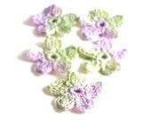 Crochet Applique Mini Flower Motif Flower Embellishment Crochet Flower Applique Crochet Motif Lavender Mint Green White Crochet Flower Motif