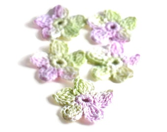 Crochet Applique Mini Flower Motif Flower Embellishment Crochet Flower Applique Crochet Motif Lavender Mint Green White Crochet Flower Motif