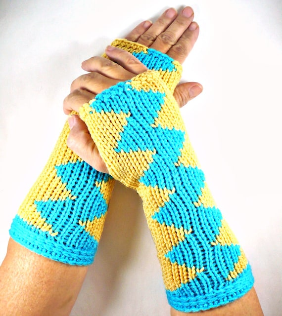 Knit Arm Warmers Knit Fingerless Gloves Knit Gloves Knit Wrist Warmers Fingerless Mittens Knit Hand Warmers Gauntlets Turquoise Blue Zigzag