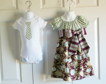 Matching Outfits Brother Sister Siblings - Girls Peasant Dress and Boys Tie Bodysuit Tshirt - Blue Mums - Burgundy Blossom Collection