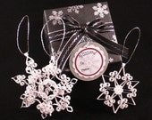 Christmas Ornaments: 'Blizzard Snowflake Collection' Set of 3 elegant, white quilled snowflake ornaments gift boxed Christmas decorations