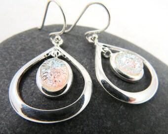 Teardrop Chandelier Earrings - Dichroic Fused Glass - Silver Frost Teardrops