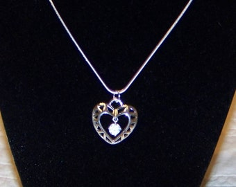 Sterling Silver Heart With Hanging CZ  Necklace