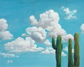 Reach for the sky -original clouds & cactus oil painting by G.Matta