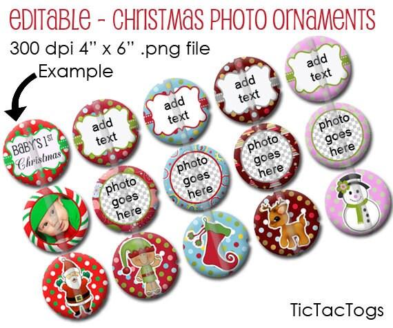 Editable Christmas Photo Ornament Bottle Cap Image Collage