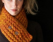 Holiday Sale Funky Burnt Orange Cowl- Neckwarmer with Organic Buttons OR Tree Branch Buttons