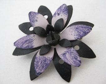Purple Black Flower Brooch Vintage Pin