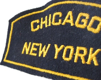 Chicago New York Patch Black Yellow Vintage