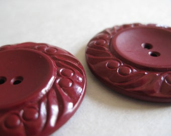 Maroon Buttons Vintage Plastic Two
