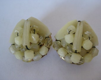 Off White Cluster Earrings Clip Vintage