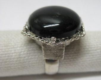 Black Cab Silver Ring Adjustable Vintage